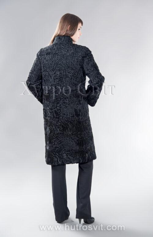 Шуба каракуль прямого пальтового фасону із коміром стійка, фото 3
