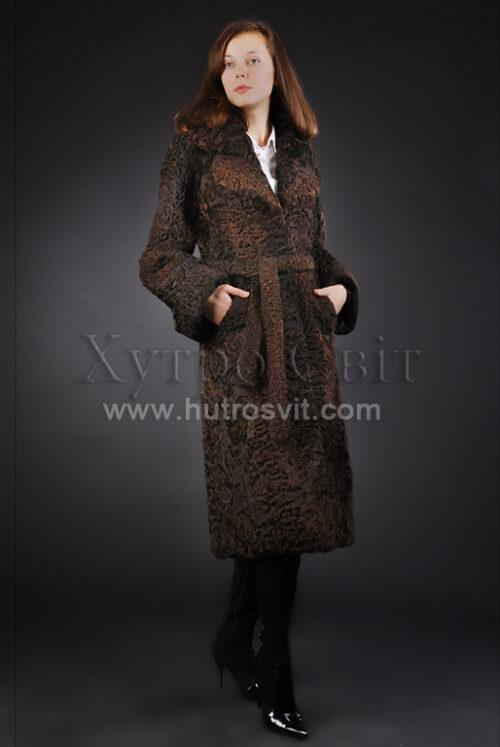 шуба-пальто мех каракуль приталенное, с поясом и шлицой, фото 1