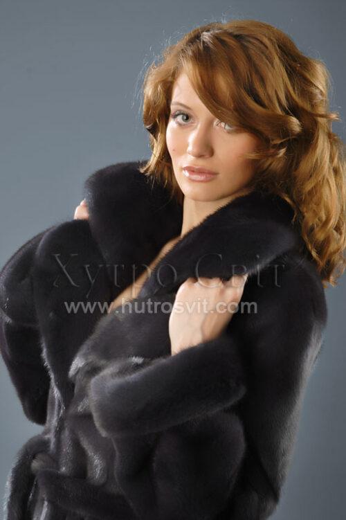 шуба норковая, фасон пальто, цвет графит, фото 1