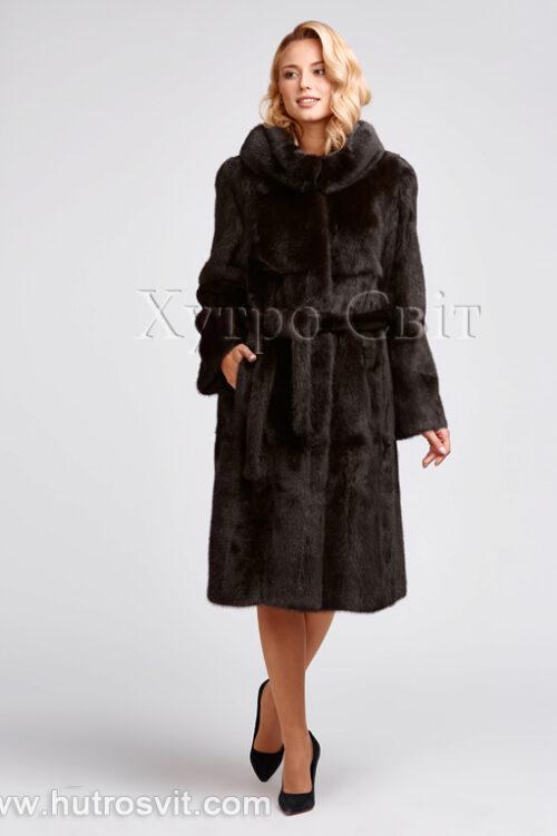 продукція виробника ХутроСвіт Тисмениця 2021 Шуба з капюшоном коричневого кольору, фасон пальто з поясом, фото 1